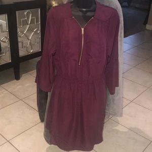 Burgundy dress/ tunic top with Heavy duty zipper